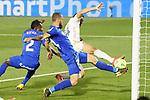 Getafe CF's Djene Dakonam (l) and David Timor (c) and Real Madrid's Mariano Diaz during La Liga match. April 18,2021. (ALTERPHOTOS/Acero)