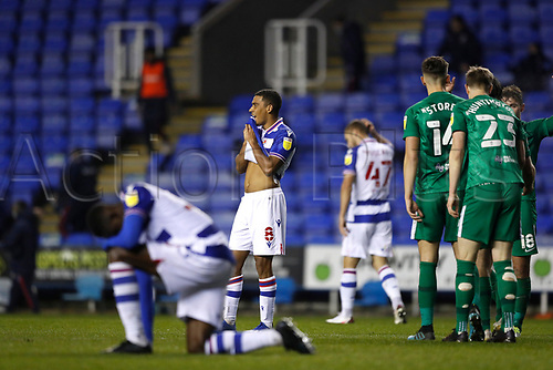 4th November 2020; Madejski Stadium, Reading, Berkshire, England; English Football League Championship Football, Reading versus Preston North End; Andy Rinomhota of Reading looking on in disappointment after the final whistle