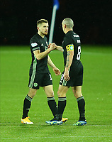 2nd February 2021; Rugby Park, Kilmarnock, East Ayrshire, Scotland; Scottish Premiership Football, Kilmarnock versus Celtic; Scott Brown of Celtic and Jonjoe Kenny of Celtic after the final whistle