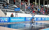 Lizzie Deignan (GBR/Trek-Segafredo) rolling over the finish line victoriously <br /> <br /> Inaugural Paris-Roubaix Femmes 2021 (1.WWT)<br /> One day race from Denain to Roubaix (FRA)(116.4km)<br /> <br /> ©kramon