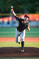 Salem-Keizer Volcanoes starting pitcher Jake Wong (22) delivers a pitch during a Northwest League game against the Hillsboro Hops at Ron Tonkin Field on September 1, 2018 in Hillsboro, Oregon. The Salem-Keizer Volcanoes defeated the Hillsboro Hops by a score of 3-1. (Zachary Lucy/Four Seam Images)