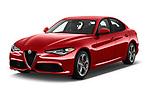 2018 Alfa Romeo Guilia Auto 4 Door Sedan angular front stock photos of front three quarter view