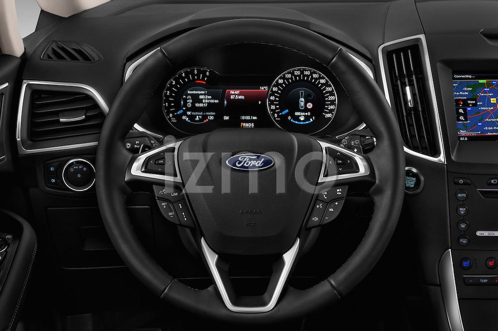 Car pictures of steering wheel view of a 2016 Ford Galaxy Titanium 5 Door Minivan Steering Wheel
