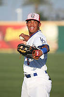 Ariel Sandoval (6) of the Rancho Cucamonga Quakes throws before a game against the Stockton Ports at LoanMart Field on July 3, 2016 in Rancho Cucamonga, California. Rancho Cucamonga defeated Stockton, 2-1. (Larry Goren/Four Seam Images)