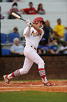Third baseman Cole Lankford (12) of the Johnson City Cardinals bats in a game against the Elizabethton Twins on Sunday, July 27, 2014, at Howard Johnson Field at Cardinal Park in Johnson City, Tennessee. The game was suspended due to weather in the fifth inning. (Tom Priddy/Four Seam Images)