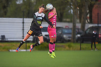 Justine Blave (22) of Eendracht Aalst and Megane Vos (20) of Sporting Charleroi pictured during a female soccer game between Sporting Charleroi and Eendracht Aalst on the 8th matchday in play off 2 of the 2020 - 2021 season of Belgian Scooore Womens Super League , tuesday 18 th of May 2021 in Marcinelle , Belgium . PHOTO SPORTPIX.BE   SPP   STIJN AUDOOREN