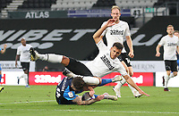Preston North End's Sean Maguire tangles with Derby County's Lee Buchanan<br /> <br /> Photographer Mick Walker/CameraSport<br /> <br /> Carabao Cup Second Round Northern Section - Derby County v Preston North End - Tuesday 15th September 2020 - Pride Park Stadium - Derby<br />  <br /> World Copyright © 2020 CameraSport. All rights reserved. 43 Linden Ave. Countesthorpe. Leicester. England. LE8 5PG - Tel: +44 (0) 116 277 4147 - admin@camerasport.com - www.camerasport.com