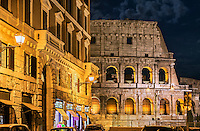 Roman Coliseum detail at night, Rome, Italy