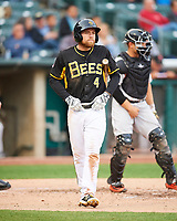 Nolan Fontana (4) of the Salt Lake Bees at bat against the Fresno Grizzlies in Pacific Coast League action at Smith's Ballpark on April 17, 2017 in Salt Lake City, Utah. The Bees defeated the Grizzlies 6-2. (Stephen Smith/Four Seam Images)