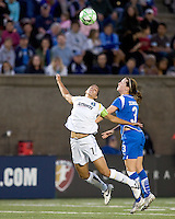 Boston Breakers forward Kelly Schmedes (3) and Los Angeles Sol midfielder Shannon Boxx (7) battle for head ball. The Boston Breakers defeated Los Angeles Sol, 2-1, at Harvard Stadium on May 2, 2009.