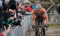 Mathieu Van der Poel (NED/Beobank-Corendon) in pursuit of Van Aert<br /> <br /> Elite Men's Race<br /> UCI 2017 Cyclocross World Championships<br /> <br /> january 2017, Bieles/Luxemburg