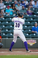 Aaron Schnurbusch (20) of the Winston-Salem Dash at bat against the Buies Creek Astros at BB&T Ballpark on April 13, 2017 in Winston-Salem, North Carolina.  The Dash defeated the Astros 7-1.  (Brian Westerholt/Four Seam Images)