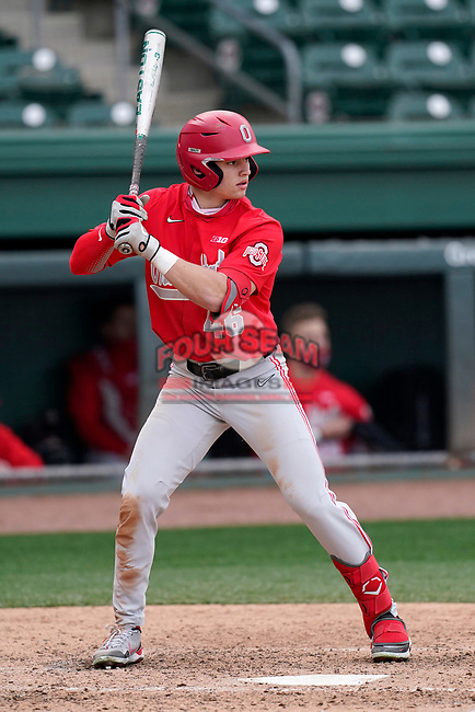 Right fielder Kade Kern (46) of the Ohio State Buckeyes bats in a game against the Illinois Fighting Illini on Friday, March 5, 2021, at Fluor Field at the West End in Greenville, South Carolina. (Tom Priddy/Four Seam Images)