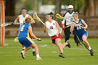 STANFORD, CA - MARCH 26: Kim Cahill of the Stanford Cardinal during Stanford's 9-8 (OT) win over the Hofstra Pride on March 26, 2004 at Maloney Field in Stanford, California.