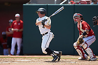 Drake Titus (4) of the Army Black Knights follows through on his swing against the North Carolina State Wolfpack at Doak Field at Dail Park on June 3, 2018 in Raleigh, North Carolina. The Wolfpack defeated the Black Knights 11-1. (Brian Westerholt/Four Seam Images)