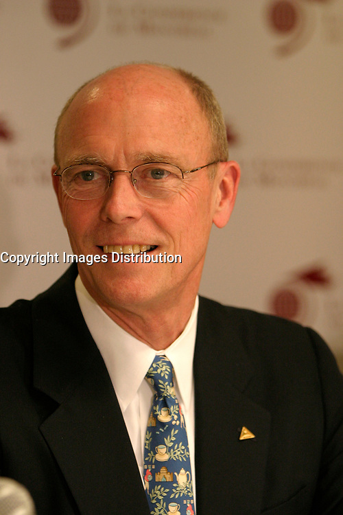 June 7 2004, Montreal (Quebec) CANADA<br />  Travis Engen ,  President and CEO, Alcan Inc. adress the media after his  speech at the 10th Conference of Montreal, June 7 2004<br /> Photo (c) 2004, Pierre Roussel / Images Distribution