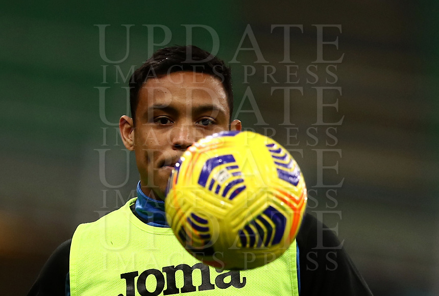 Calcio, Serie A: Inter Milano - Atalanta, Giuseppe Meazza (San Siro) stadium, in Milan, March 8, 2021.  <br /> Atalanta's Luis Muriel during the warm up prior to the Italian Serie A football match between Inter and Atalanta at Giuseppe Meazza (San Siro) stadium, on  March 8, 2021.  <br /> UPDATE IMAGES PRESS/Isabella Bonotto