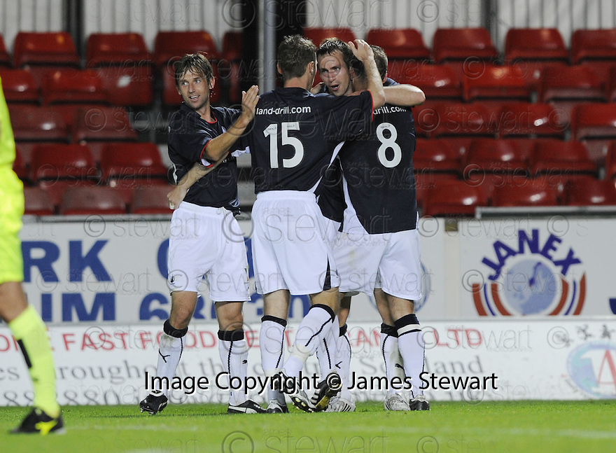 23/09/2008  Copyright Pic: James Stewart.File Name : sct_jspa10_falkirk_v_qots.STEVE LOVELL CELEBRATES AFTER HE SCORES FALKIRK'S SECOND.James Stewart Photo Agency 19 Carronlea Drive, Falkirk. FK2 8DN      Vat Reg No. 607 6932 25.Studio      : +44 (0)1324 611191 .Mobile      : +44 (0)7721 416997.E-mail  :  jim@jspa.co.uk.If you require further information then contact Jim Stewart on any of the numbers above........