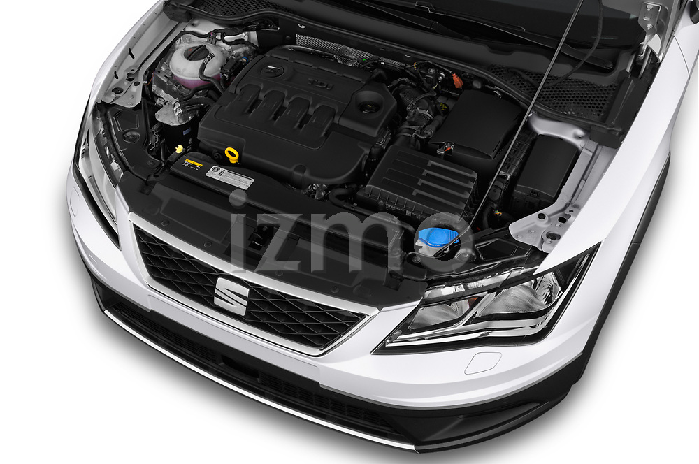 Car stock 2017 Seat Leon ST Xperience Base 5 Door Wagon engine high angle detail view