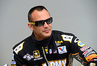 Apr. 15, 2012; Concord, NC, USA: NHRA top fuel dragster driver Tony Schumacher during eliminations for the Four Wide Nationals at zMax Dragway. Mandatory Credit: Mark J. Rebilas-