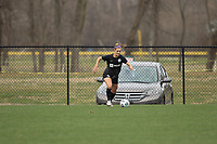 LOUISVILLE, KY - MARCH 13: Emily Fox #11 of Racing Louisville FC dribbles the ball during warmups before a game between West Virginia University and Racing Louisville FC at Thurman Hutchins Park on March 13, 2021 in Louisville, Kentucky.