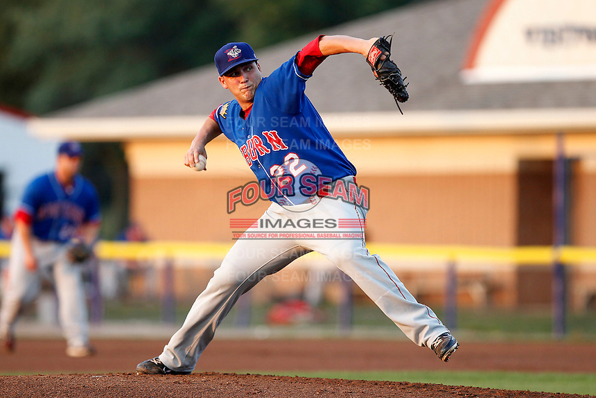 Auburn Doubledays pitcher Manny Rodriguez #22 delivers a pitch during a game against the Batavia Muckdogs at Dwyer Stadium on September 3, 2011 in Batavia, New York.  Auburn defeated Batavia 2-1.  (Mike Janes/Four Seam Images)