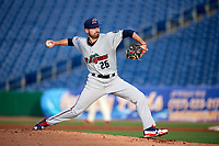 Fort Myers Miracle starting pitcher Clark Beeker (26) delivers a pitch during a game against the Clearwater Threshers on May 31, 2018 at Spectrum Field in Clearwater, Florida.  Clearwater defeated Fort Myers 5-1.  (Mike Janes/Four Seam Images)