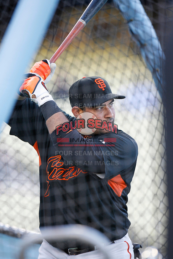 Bengie Molina of the San Francisco Giants during batting practice before a game from the 2007 season at Dodger Stadium in Los Angeles, California. (Larry Goren/Four Seam Images)