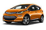Stock pictures of low aggressive front three quarter view of 2017 Chevrolet Bolt-EV Premier 5 Door Hatchback Low Aggressive