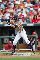 Virginia Cavaliers second baseman Ernie Clement (4) at bat against the Arkansas Razorbacks in Game 1 of the NCAA College World Series on June 13, 2015 at TD Ameritrade Park in Omaha, Nebraska. Virginia defeated Arkansas 5-3. (Andrew Woolley/Four Seam Images)