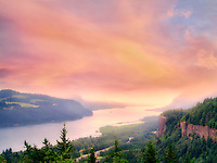Crown Point and Columbia river sunrise. Columbia River Gorge National Scenic Area. Oregon This image has a sunset sky added