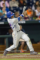 Florida Gators shortstop Richie Martin (12) swings the bat during the NCAA College baseball World Series against the Virginia Cavaliers on June 15, 2015 at TD Ameritrade Park in Omaha, Nebraska. Virginia defeated Florida 1-0. (Andrew Woolley/Four Seam Images)