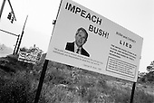 Sarasota, Florida.USA.October 29, 2004..Disfigured Bush signs.