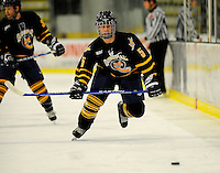 30 December 2007: Quinnipiac University Bobcats' defenseman Brett Dickinson, a Freshman from Furlong, PA, in action against the University of Vermont Catamounts at Gutterson Fieldhouse in Burlington, Vermont. The Bobcats defeated the Catamounts 4-1 to win the Sheraton/TD Banknorth Catamount Cup Tournament...Mandatory Photo Credit: Ed Wolfstein Photo