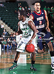 South Alabama Jaguars guard/forward Gary Redus (2) defends North Texas Mean Green guard Josh White (10) during the NCAA  basketball game between the South Alabama Jaguars and the University of North Texas Mean Green at the North Texas Coliseum,the Super Pit, in Denton, Texas. UNT defeated South Alabama 82 to 79...