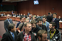 Journalists leave the room  at the start of a Eurogroup with European Finance Ministers meeting at EU council headquarters in Brussels, Belgium on 26.01.2015 The Eurogroup's meeting focus on Greece, after  leftist anti-bailout party SYRIZA won parliamentary elections by Wiktor Dabkowski