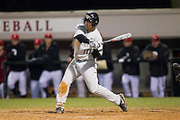 Nate Mondou (10) of the Wake Forest Demon Deacons at bat against the Davidson Wildcats at Wilson Field on March 19, 2014 in Davidson, North Carolina.  The Wildcats defeated the Demon Deacons 7-6.  (Brian Westerholt/Four Seam Images)