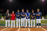 Seby Zavala (24), Blake Trahan (9), Corey Ray (2), Chris Paul (21), Tomas Nido (7), Thairo Estrada (99), and Josh Naylor (20) pose for a photo after the Arizona Fall League Bowman Hitting Challenge on October 21, 2017 at Sloan Park in Mesa, Arizona. Chris Paul, of the Minnesota Twins organization, won the American League trophy while Tomas Nido, of the New York Mets organization, won the National League trophy. (Zachary Lucy/Four Seam Images)