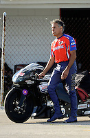 Sept 8, 2012; Clermont, IN, USA: NHRA pro stock motorcycle rider Hector Arana Sr during qualifying for the US Nationals at Lucas Oil Raceway. Mandatory Credit: Mark J. Rebilas-