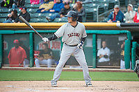 Shawn O'Malley (18) of the Tacoma Rainiers at bat against the Salt Lake Bees in Pacific Coast League action at Smith's Ballpark on May 7, 2015 in Salt Lake City, Utah.  (Stephen Smith/Four Seam Images)