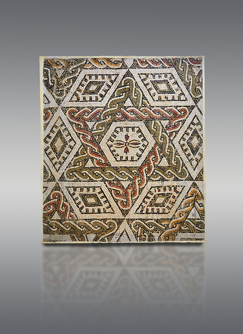 Pictures of a geometric Roman mosaics with a hexagon at its centre in the middle of which is a cruciform of flowers, from the ancient Roman city of Thysdrus, house in the M'Barek R'Haiem area. Begining of 3rd century AD. El Djem Archaeological Museum, El Djem, Tunisia.