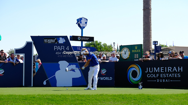 Søren KJELDSEN (DEN) during round two of the 2016 DP World Tour Championships played over the Earth Course at Jumeirah Golf Estates, Dubai, UAE: Picture Stuart Adams, www.golftourimages.com: 11/18/16
