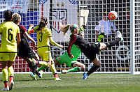 Chester, Pa. - April 10, 2016: The U.S. Women's National team go up 2-0 over Colombia in first half action from a Julie Johnston goal during an international friendly match at Talen Energy Stadium.