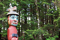 Replica of Top of Man Wearing Bear Hat totem pole, Totem Bight State Historical Park, Ketchikan, Alaska