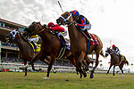DEL MAR, CA  AUGUST 3: #4 Vasilika, ridden by Julien Leparoux, on the outside,  #3 Storm the Hill, ridden by Rafael Bejarano, in the middle and #1 Beau Recall, ridden by Drayden Van Dyke, battle in the stretch of the Yellow Ribbon Handicap (Grade ll) on August 3, 2019, at Del Mar Thoroughbred Club in Del Mar, CA..  (Photo by Casey Phillips/Eclipse Sportswire/CSM)