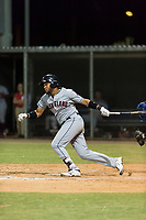 AZL Indians 2 left fielder Cristopher Cespedes (30) follows through on his swing during an Arizona League game against the AZL Cubs 2 at Sloan Park on August 2, 2018 in Mesa, Arizona. The AZL Indians 2 defeated the AZL Cubs 2 by a score of 9-8. (Zachary Lucy/Four Seam Images)