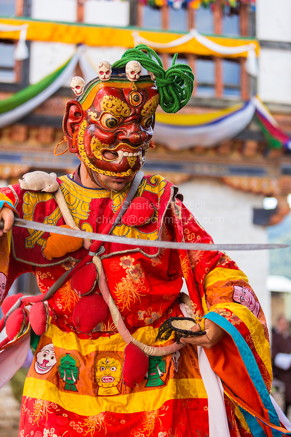 Prakhar Lhakhang, Bumthang, Bhutan.  Buddhist Monk with Sword Wearing Mask of a Mythological Deity while Performing a Dance in the Duechoed Religious Festival.