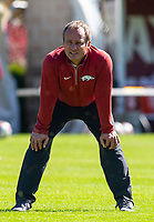 Georgia Bulldogs vs Arkansas Razorback Women's Soccer -   Arkansas Head Soccer coach Colby Hale warming up against Georgia at Razorback Field, Fayetteville, AR on Sunday, October 27, 2019 - Special to NWA Democrat Gazette David Beach