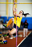 Perryville High School pole vaulter Katie Hild attempts to clear the bar during her third place finish in the 1A Pole Vault during the Maryland State Indoor Track and Field Championships at the Prince George's County Sports Complex in Landover, Maryland on February 20, 2012.