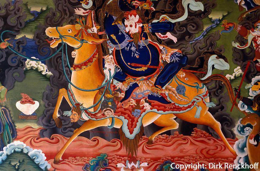 Indien, Ladakh (Jammu+Kashmir), Wandbild im Kloster Lekir.